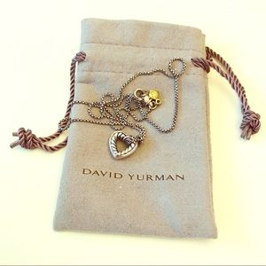 "David Yurman 16"" Cable Heart Pendant Necklace"